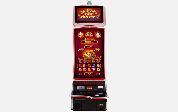 slot gaming cabinet with a curved screen